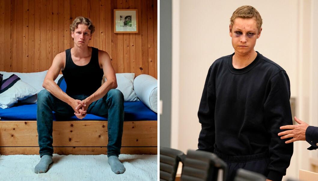 Bildet til venstre er et privat bilde som flere medier brukte etter de identifiserte terrorsiktede. Bildet til høyre er et bilde fra det første fengslingsmøtet, hvor terrorsiktede sa ja til å bli fotografert. Begge bildene er distribuert av bildebyrået NTB scanpix. Følgende beskjed følger de private bildene: Redaksjoner må gjøre selvstendige vurderinger før publisering av disse bildene. Foto: Privat og Cornelius Poppe / NTB scanpix