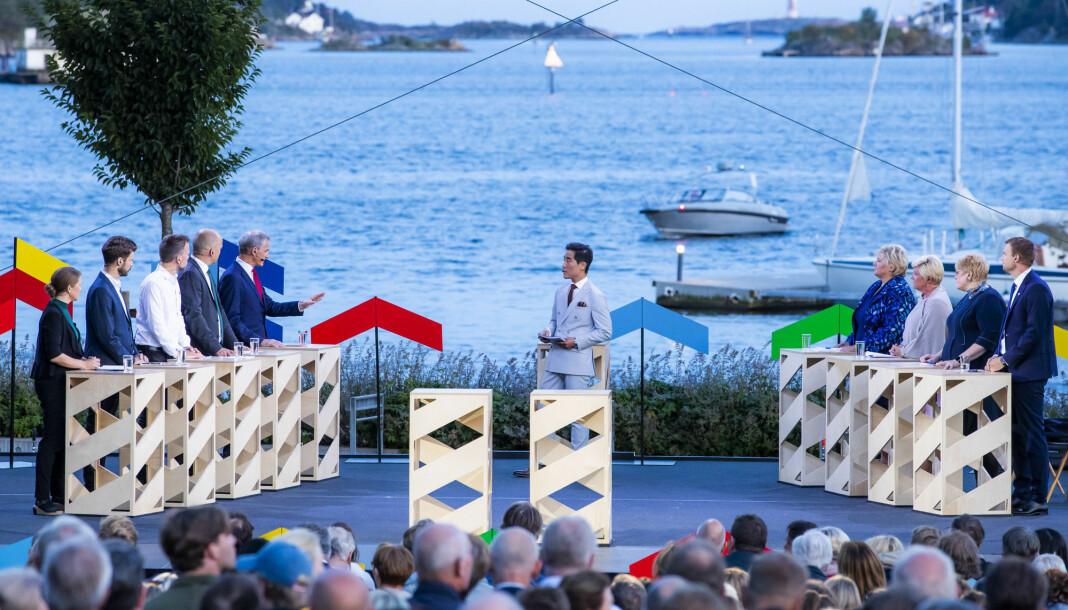 Fredrik Solvang ledet mandagens partilederdebatt i Arendal. Foto: Håkon Mosvold Larsen / NTB scanpix
