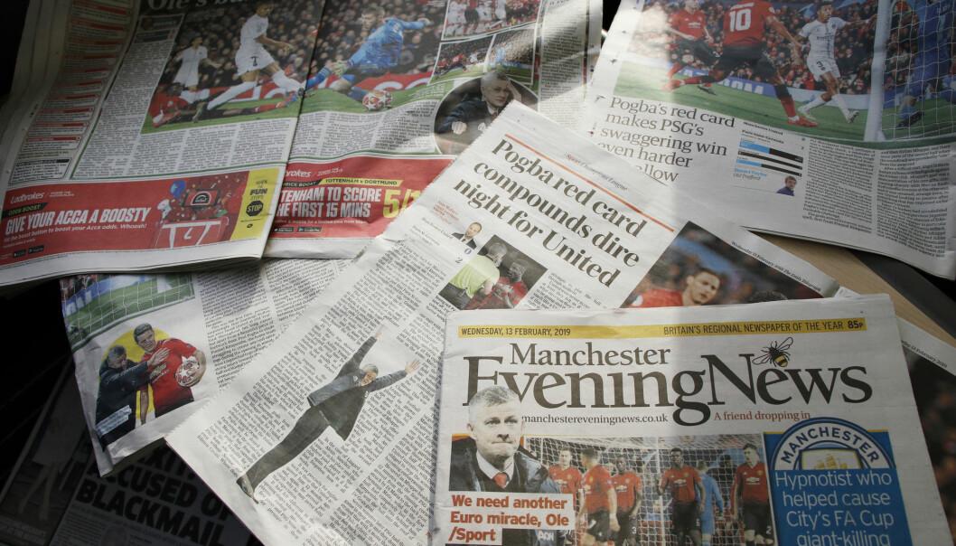 Avisoppslag i engelske aviser etter Manchester United-kamp. Foto: Erik Johansen / NTB scanpix