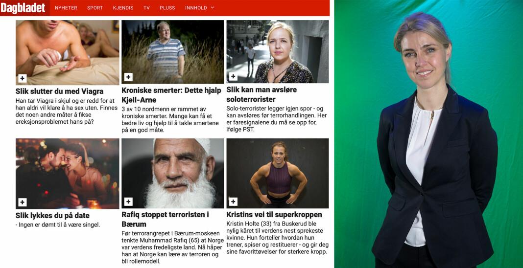 Oppfyller Dagbladet Pluss kravene for å få pressestøtte? Svaret får sjefredaktør Alexandra Beverfjord mest sannsynlig i oktober. Foto: Skjermdump fra Dagbladet Pluss og NTB scanpix