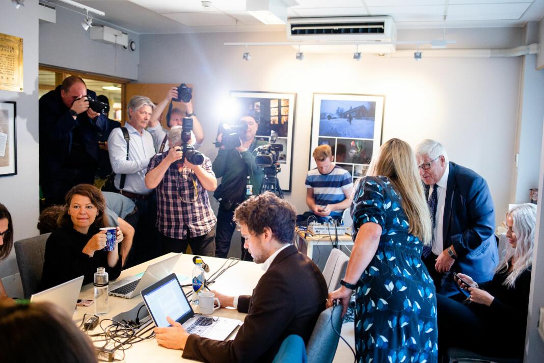 Mange fra pressen var tilstede under møtet i Norsk Presseforbunds lokaler i Oslo. Foto: Eskil Wie Furunes