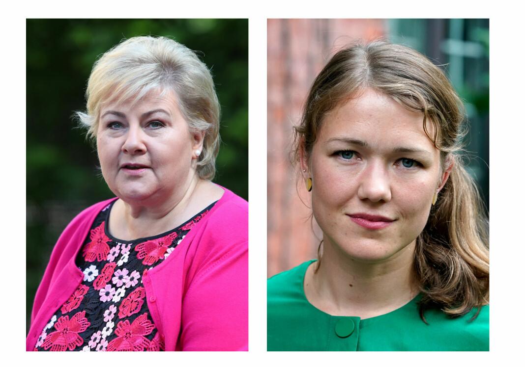 Høyre og MDG hadde blitt de største partiene etter årets valg, hvis Nettavisenes journalister fikk bestemme. Foto: Ryan Kelly og Cornelius Poppe / NTB scanpix