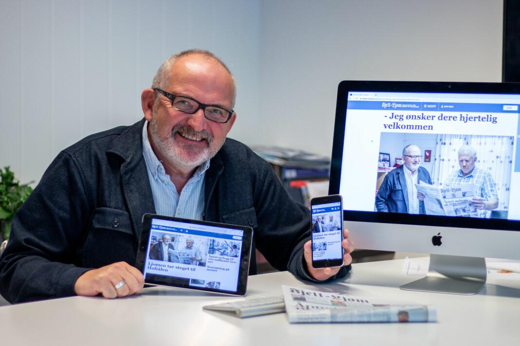 – Nå blir Fjell-Ljom lokalavisa for Røros og Holtålen. I tillegg blir vi en viktig ak-tør på nett og mobil, sier redaktør og daglig leder Nils Kåre Nesvold i Fjell-Ljom. Foto. Fjell-Ljom