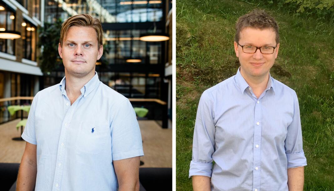 Jonas Alsaker Vikan (t.v.) og Espen Rasmussen er begge journalister i Adresseavisen. Det siste året har de laget journalistikk på norske menn som gjør nettovergrep mot filippinske barn. Nå forsøker de å kartlegge hvor stort omfanget er. Foto: Eskil Wie Furunes og privat