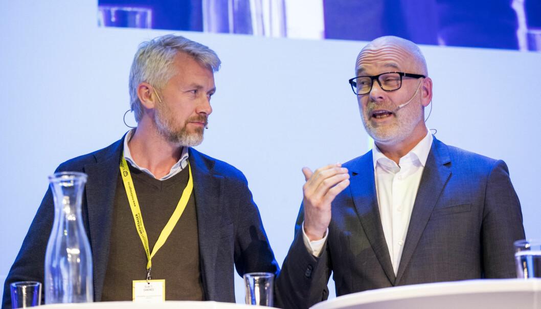 TV 2-sjef Olav T. Sandnes (t.v.) og kringkastingssjef Thor Gjermund Eriksen. Foto: NTB Scanpix