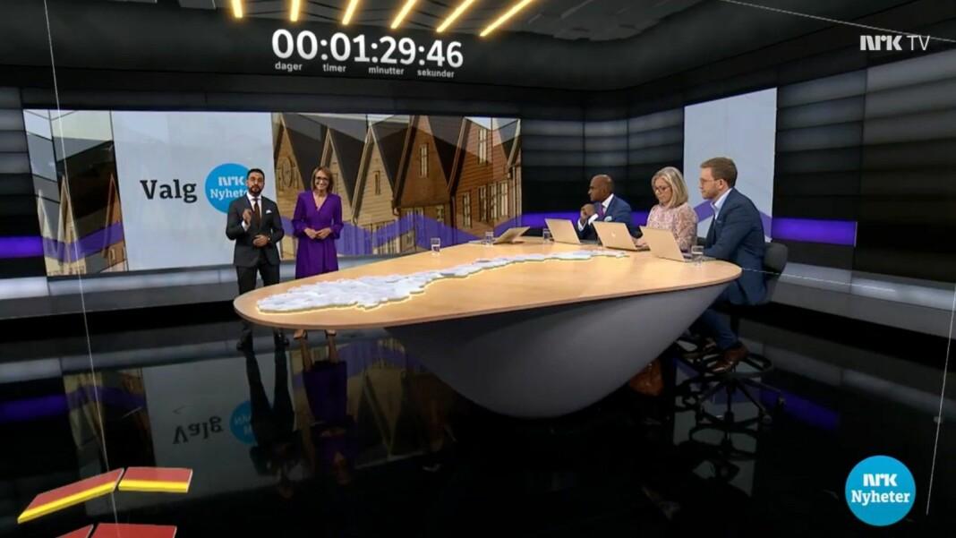 Over én million mennesker var innom valgsendingene på NRK1. Skjermdump fra NRK TV