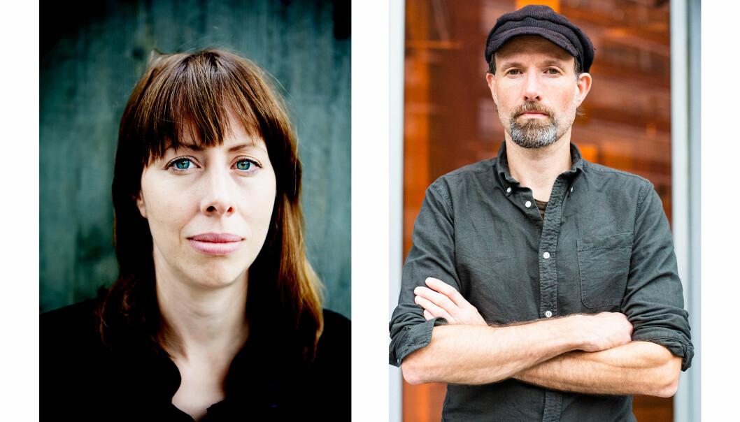 Ansvarlig redaktør Anna B. Jenssen og klubbleder Jo T. Gaare i Morgenbladet. Foto: Fredrik Bjerknes og Kristine Lindebø