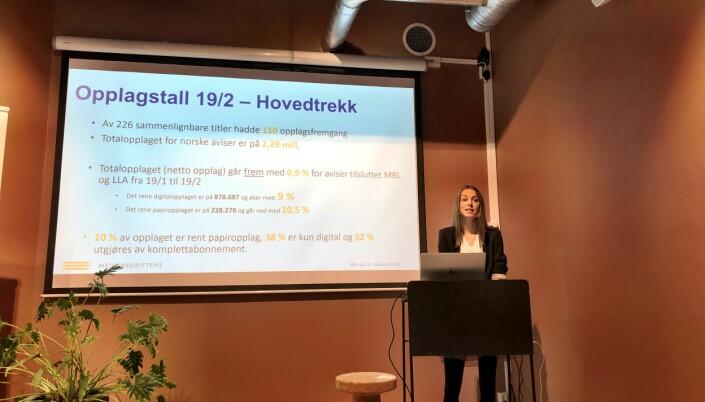 MBLs markedsanalytiker Bente Håvimb presenterte tallene. Foto: Roger Aarli-Grøndalen