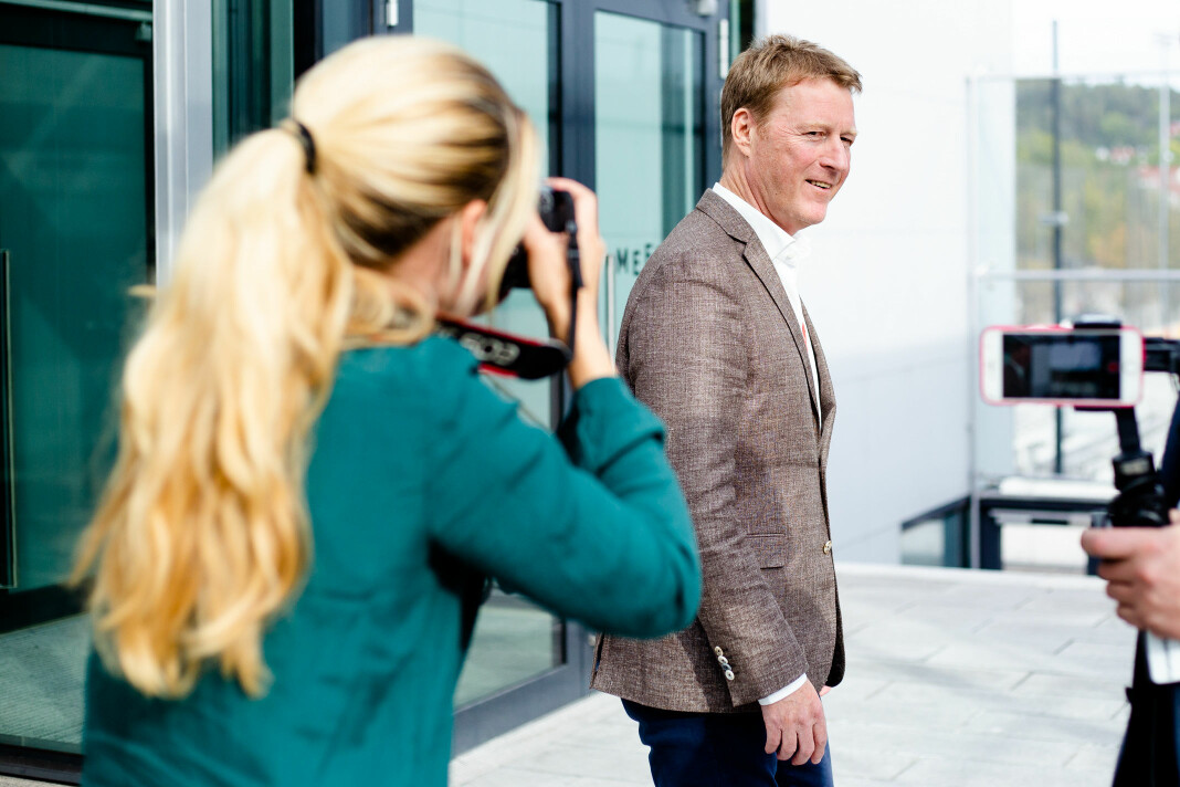 Jim Receveur blir intervjuet av Kampanje under Radiodagene 2019 på Ullevål stadion. Foto: Eskil Wie Furunes