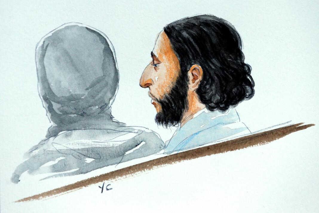 Vibeke Knoop Rachline har fordypet seg i Salah Abdeslam, som var den eneste overlevende terroristen etter terroren i Paris i november 2015. Her er han tegnet i retten etter arrestasjonen. Illustrasjon: Yves Capelle / Reuters / NTB scanpix