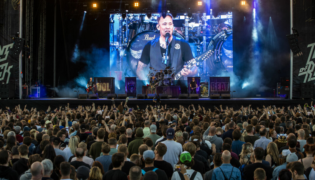 Det danske heavy metal-bandet Volbeat spilte i juni på Tons of Rock-festivalen i Oslo. Danske medier boikotter bandet. Foto: Berit Roald / NTB scanpix