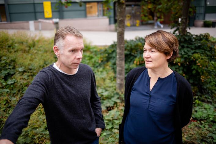 Anders Graver Knudsen er spent på hvordan korona vil prege undervisninga. Her sammen med medieforsker Birgit Røe Mathisen fra en annen anledning.