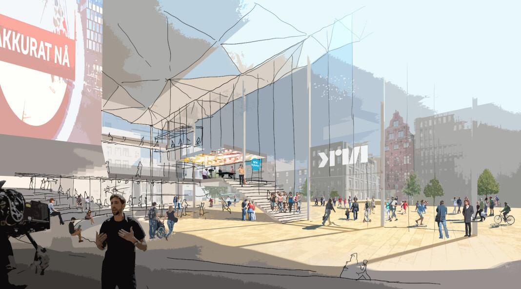 En grov skisse til hvordan NRKs nye bygg kan se ut. Illustrasjon: A-LAB AS