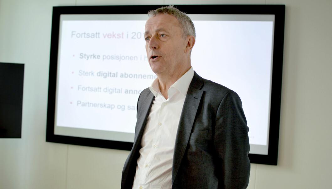 Konsernsjef Are Stokstad i Amedia presenterte «hvor vi kan være i 2023 hvis vi ikke utvikler oss» til tillitsvalgte. Her fra en annen anledning. Foto: Nils Martin Silvola