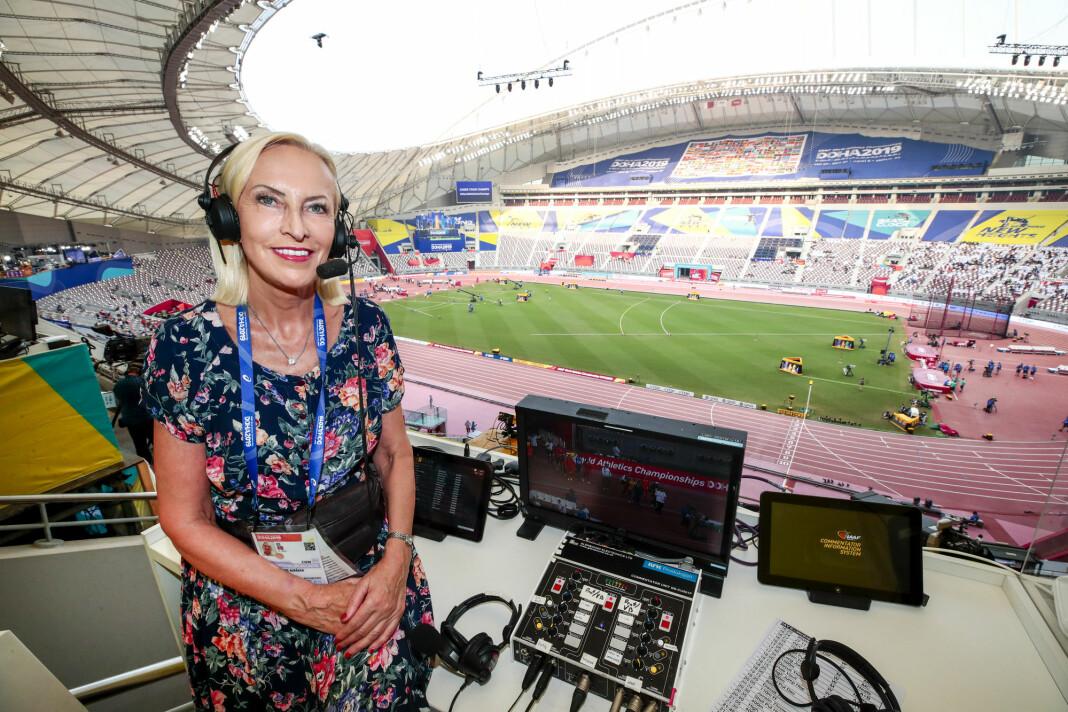 Karen-Marie Ellefsen har enn 40 års erfaring fra NRK-sporten. Her under årets friidretts-VM i Doha. Foto: Lise Åserud / NTB scanpix.