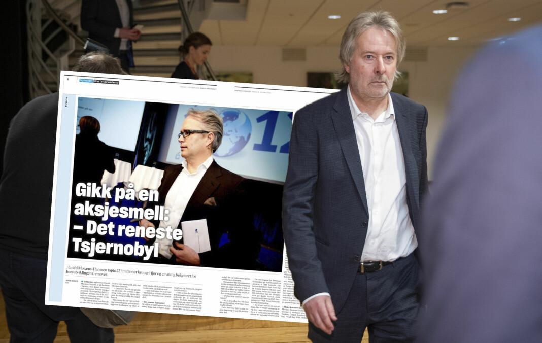 Torry Pedersen reagerer på sammenligningen med Tsjernobyl i Dagens Næringsliv, etter en investor tapte penger. Fotomontasje: Dagens Næringsliv-faksimile og Berit Roald / NTB scanpix