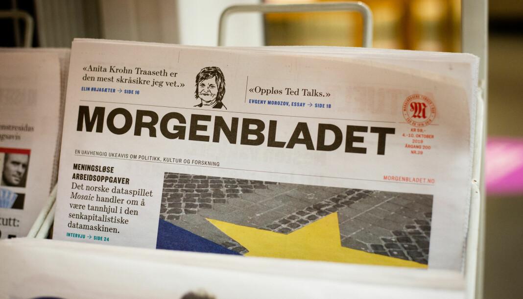 Før helgen valgte over 30 skribenter å slutte å levere stoff til Morgenbladet. Foto: Eskil Wie Furunes