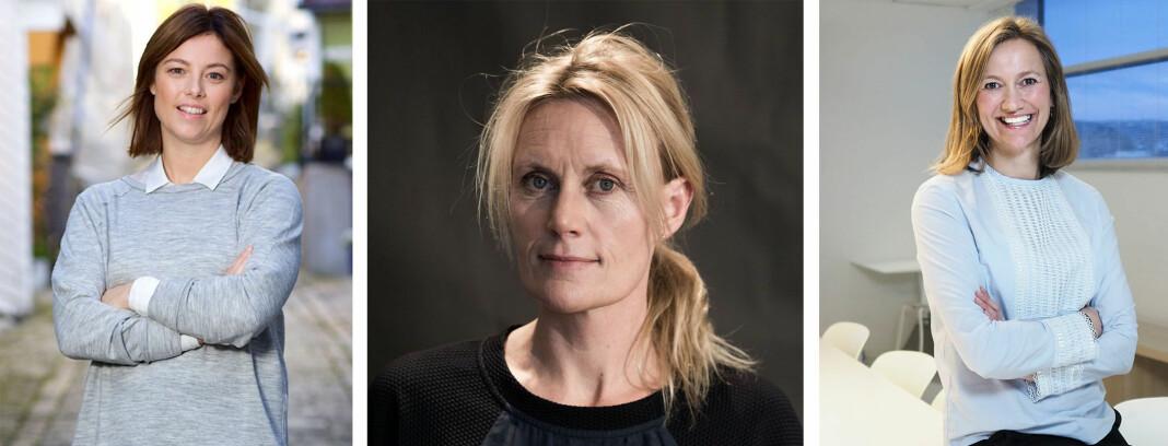 Sarah C.J. Willand, Guri Jortveit og Siv Juvik Tveitnes er årets finalister i kåringen av Årets kvinnelige medielederFoto: TV 2 / Amedia / Schibsted