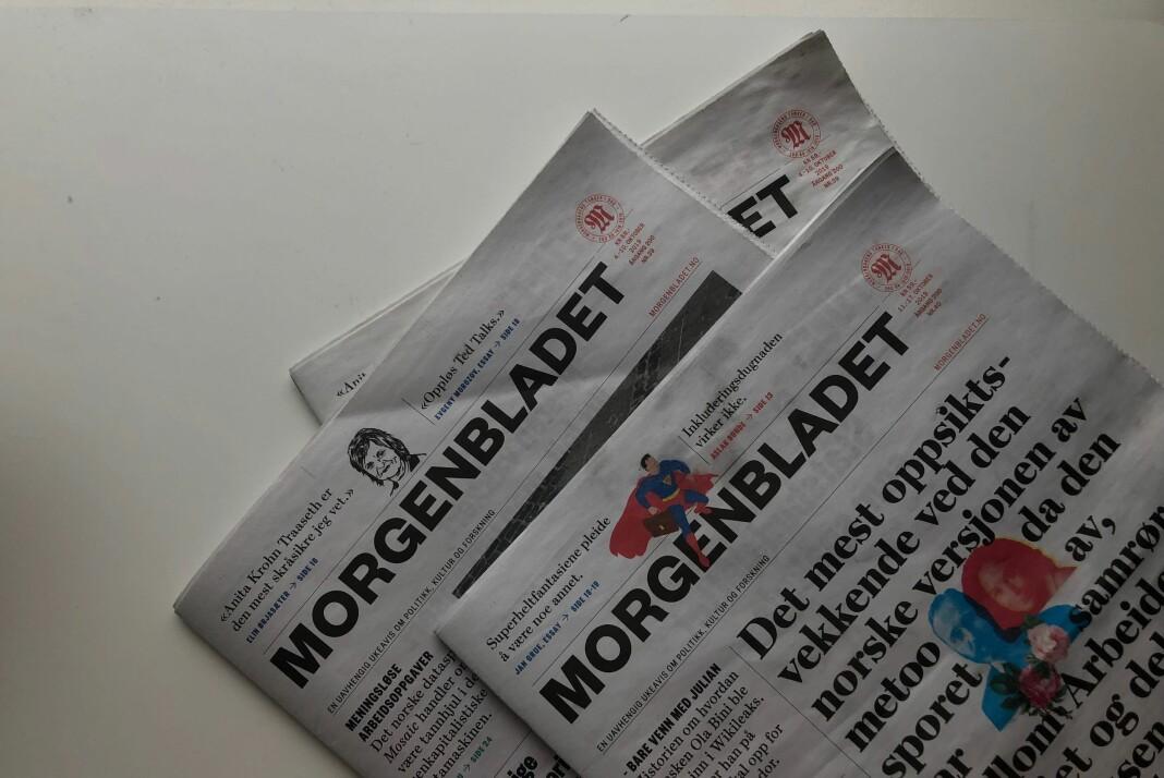 Konflikten i Morgenbladet bekymrer Oslo Journalistklubb. Her er siste utgaver av avisa. Foto: Kristine Lindebø