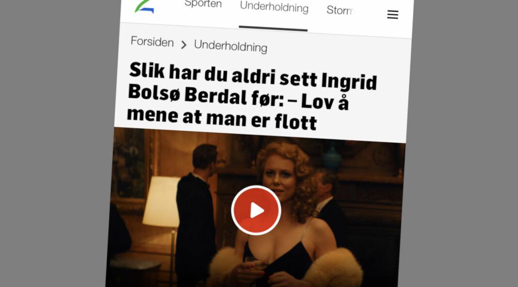 Toppbildet i intervjuet med Ingrid Bolsø Berdal sto opprinnelig sammen med et bilde fra en nakenscene i «Westworld». Skjermdump fra TV2.no