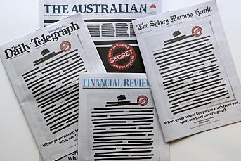 Sensurert forside på flere australske aviser