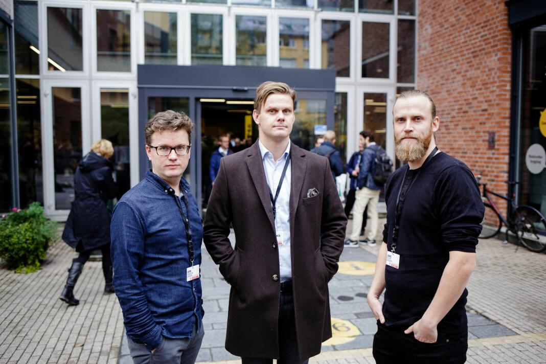 Espen Rasmussen (f.v), Jonas Alsaker Vikan og Jonas Nilsson utenfor lokalene til Oslomet under Data-Skup. Foto: Eskil Wie Furunes