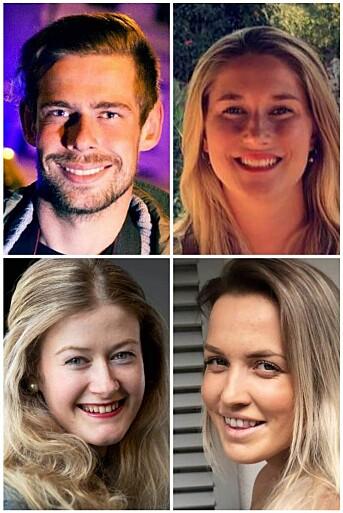 Vegard M. Aas, Linn Christoffersen, Mathilde Torsøe og Oda Bekkestad har fått jobb i Drammens Tidende. Foto: DT
