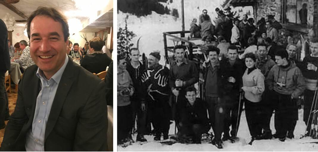 Frederick Wallace, SCIJs nåværende presiden. Bildet til høyre er fra det første møtet i Meribel 1955. Foto: Lars Chr. Wallace og SCIJ