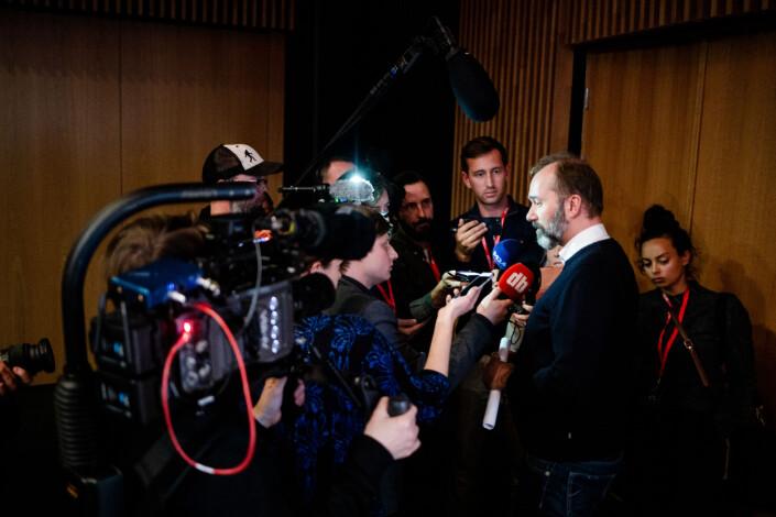 Mediepolitisk talsperson i Arbeiderpartiet, Trond Giske, her etter debatten på mediekonferansen Svarte Natta i Tromsø i vinter.