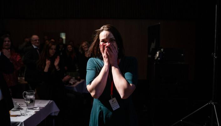 Siri Gulliksen like etter hun har fått høre at hun, og kollegene, vant prisen.