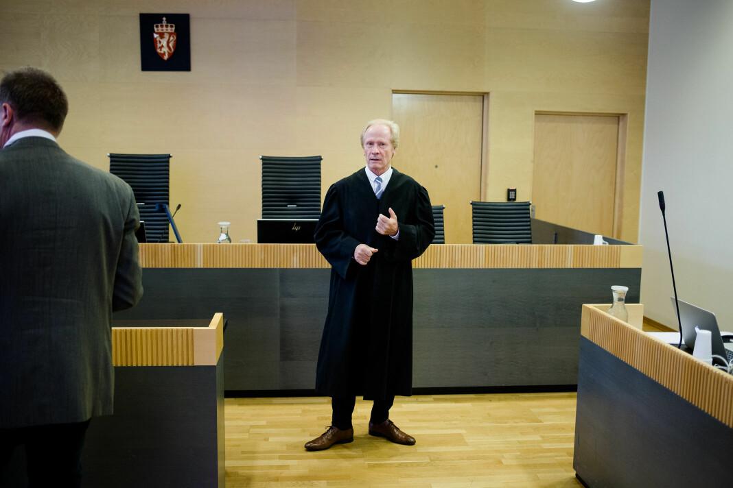 Advokat Per Danielsen har ført flere ærekrenkelsessaker mot mediene. Her fra lagmannsretten under ankesaken mellom hjernekirurg Per Kristian Eide og TV 2.