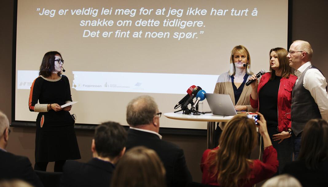 15. desember 2017 presenterte medieorganisasjonene undersøkelsen om seksuell trakassering. Fra venstre Reidun Kjelling Nybø (NR), Randi Øgrey (MBL), Hege Iren Frantzen (NJ) og Arne Jensen (NR). Arkivfoto: Andrea Gjestvang