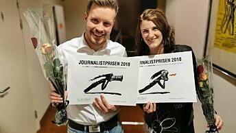 Vestlandsnytt-journalistene Bjørnar Torvholm Sævik og Josefine Spiro ble begge vinnere da NJ Møre og Romsdal delte ut sine journalistpriser tidligere i høst. Foto: Norsk Journalistlag