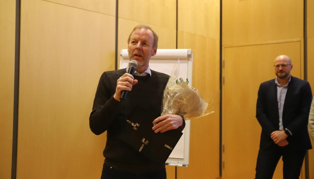 Årets netthode 2019 lever og ånder for journalistikken, skriver juryen. I dag Amedias Erling Brøndbo hedret av NONA. Foto: Nils Martin Silvola