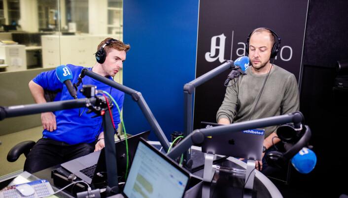 Anders Veberg og Andreas Bakke Foss i studio.
