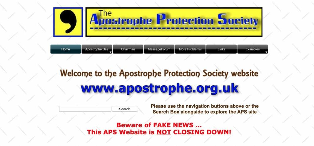 Det britiske apostrof-forbundet legges ned, men nettsiden skal bestå.