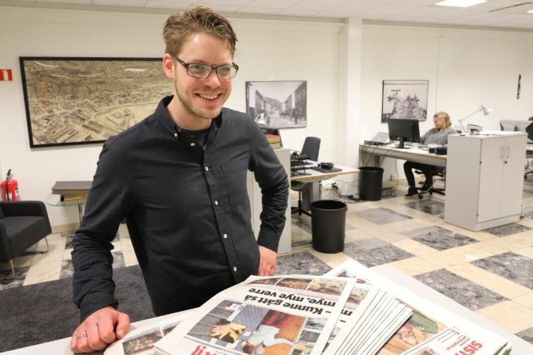 Ansvarlig redaktør og daglig leder i Sande Avis, Magnus Franer-Erlingsen. Foto: Pål Nordby / Jarlsberg Avis