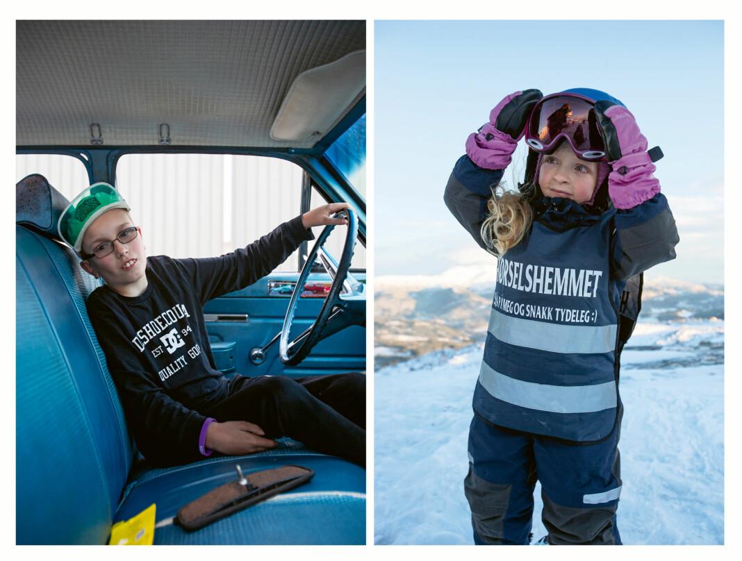 Aron (12) fra Rindal og Ea (6) fra Voss er blant de tolv barna som er med i Christina Skreibergs reportasjebok.