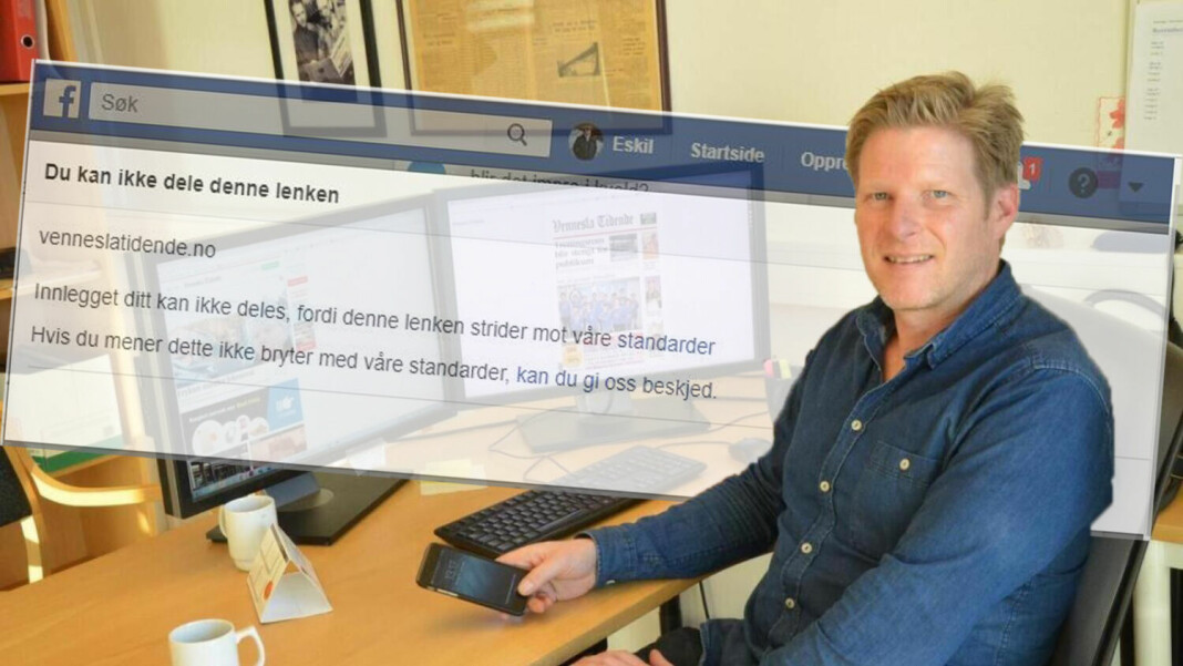 Redaktør Christopher Johansen i Vennesla Tidende opplevde at avisen ble utestengt fra Facebook i over fem dager.
