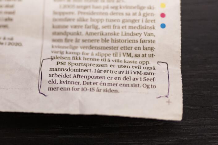 I en Aftenposten-sak om at bare én kvinne satt i styret i Det internasjonale skiforbundet, fant Roald et PS om kvinneandelen i sportspressen.
