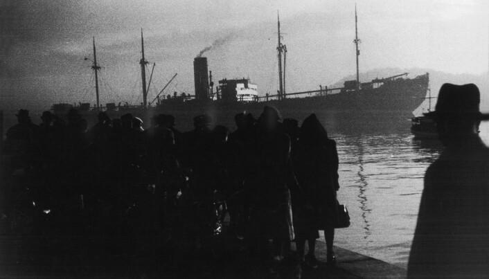 Det tyske skipet Donau tok 530 norske jøder til utryddelsesleirene. Bildet er fra Amerikalinjens kai, Utstikker 1, skriver NTB scanpix, og det er tatt i det båten forlater Oslo.