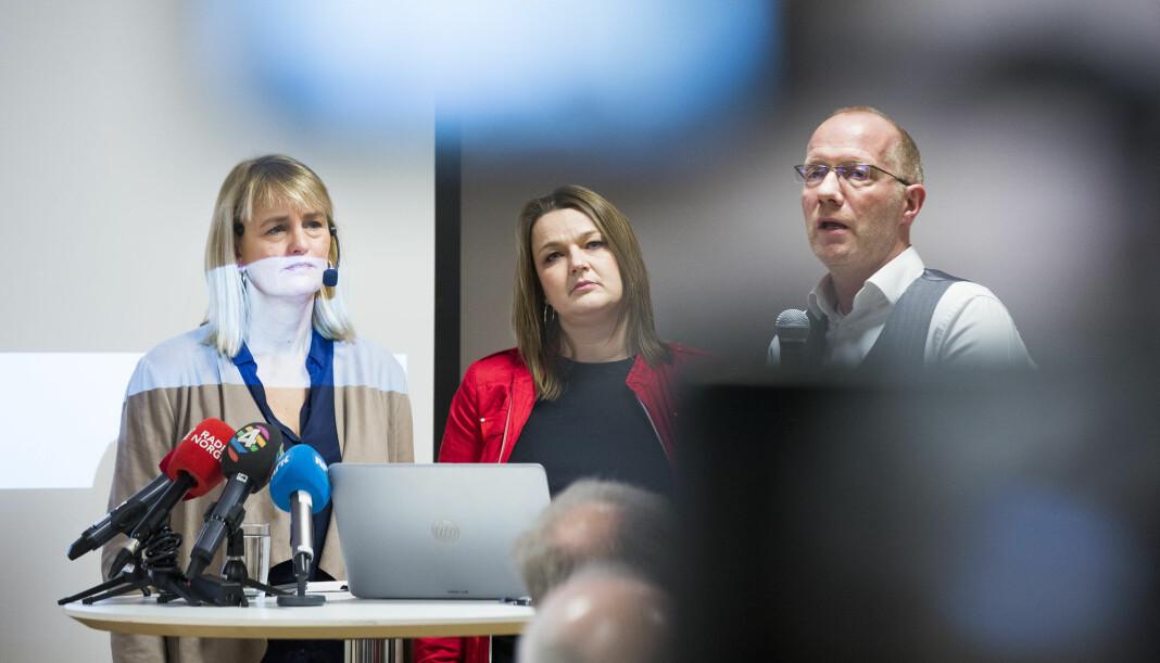 Randi Øgrey (MBL), Hege Iren Frantzen (NJ) og Arne Jensen (NR) presenterte undersøkelsen om seksuell trakassering i mediebransjen i 2017.