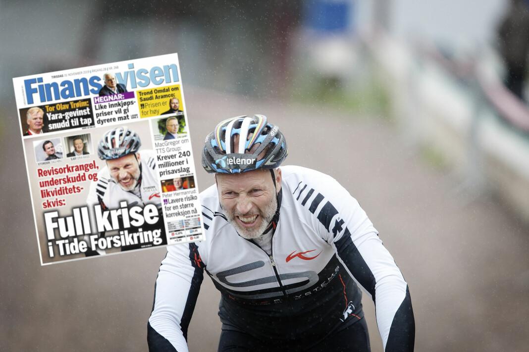 Tidligere toppalpinist Lasse Kjus reagerer blant annet på at Finansavisen har brukt dette bildet i et forsideoppslag om Tide forsikring 19. november i år. Bildet er fra 2011, da alpinlandslaget deltok på sykkelstafett for Støtteforeningen for kreftsyke barn. Foto: Linn Cathrin Olsen / NTB scanpix / faksimile