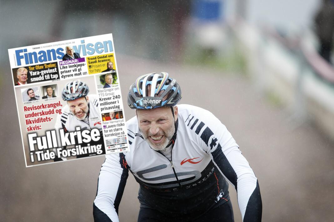Tidligere toppalpinist Lasse Kjus reagerer blant annet på at Finansavisen har brukt dette bildet i et forsideoppslag om Tide forsikring 19. november i fjor. Bildet er fra 2011, da alpinlandslaget deltok på sykkelstafett for Støtteforeningen for kreftsyke barn.
