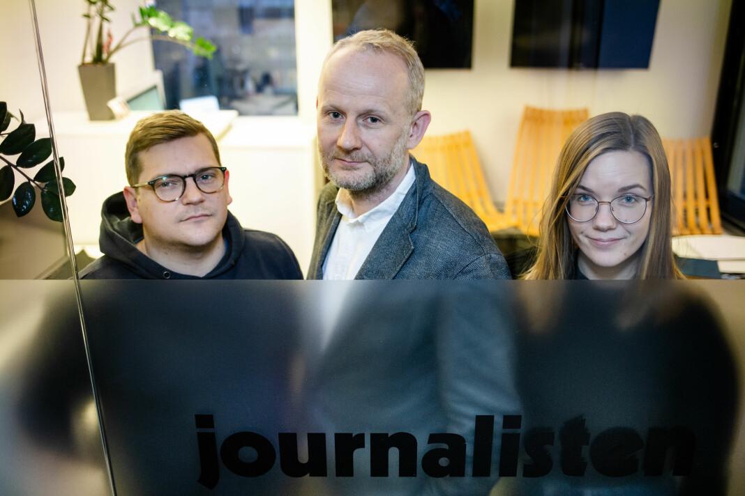 Journalistens redaksjon, med journalist Nils Martin Silvola, redaktør Roger Aarli-Grøndalen, journalist Kristine Lindebø og journalist Guro Flaarønning (ikke til stede da bildet ble tatt) skal lage papirmagasin i 2020.