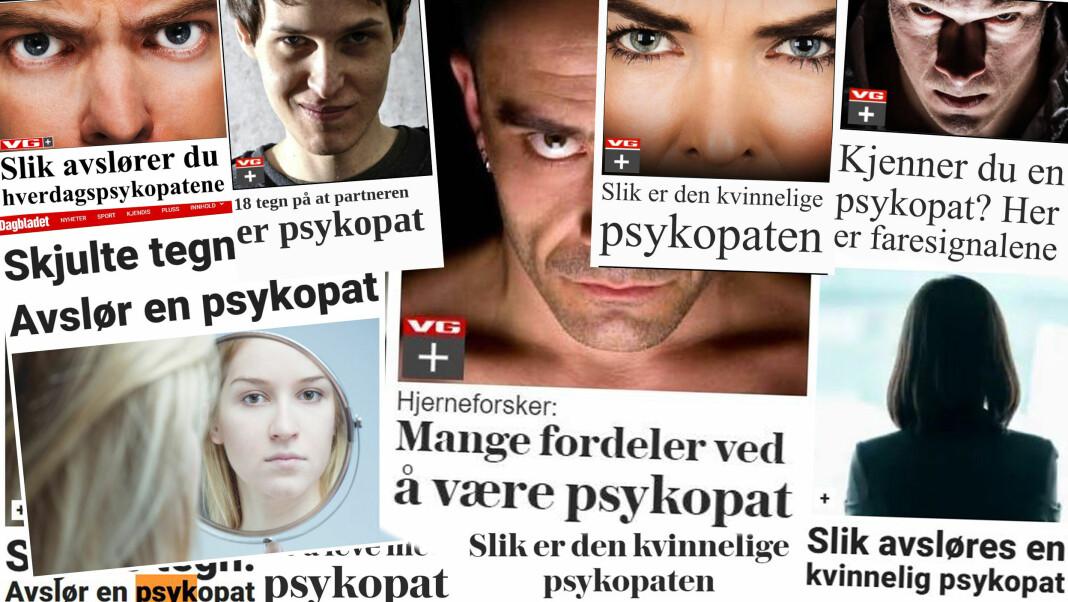 Saker om psykopater fra VG+ og Dagbladet pluss de siste årene.