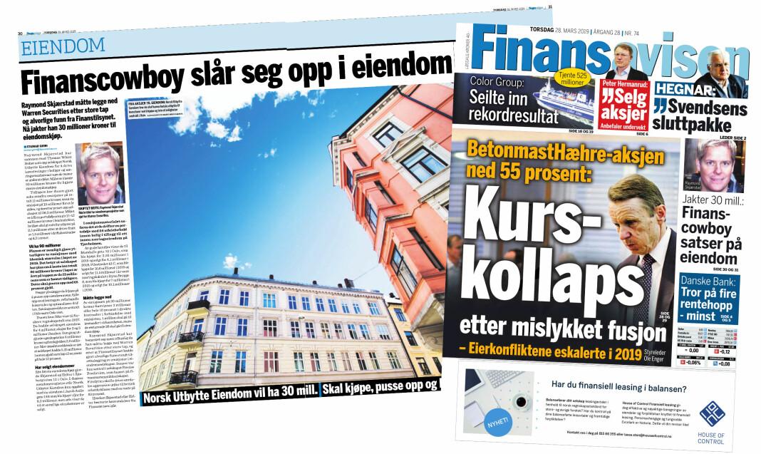 Finansavisen klages inn til PFU for denne artikkelen om at Raymond Skjærstad satser på eiendom.
