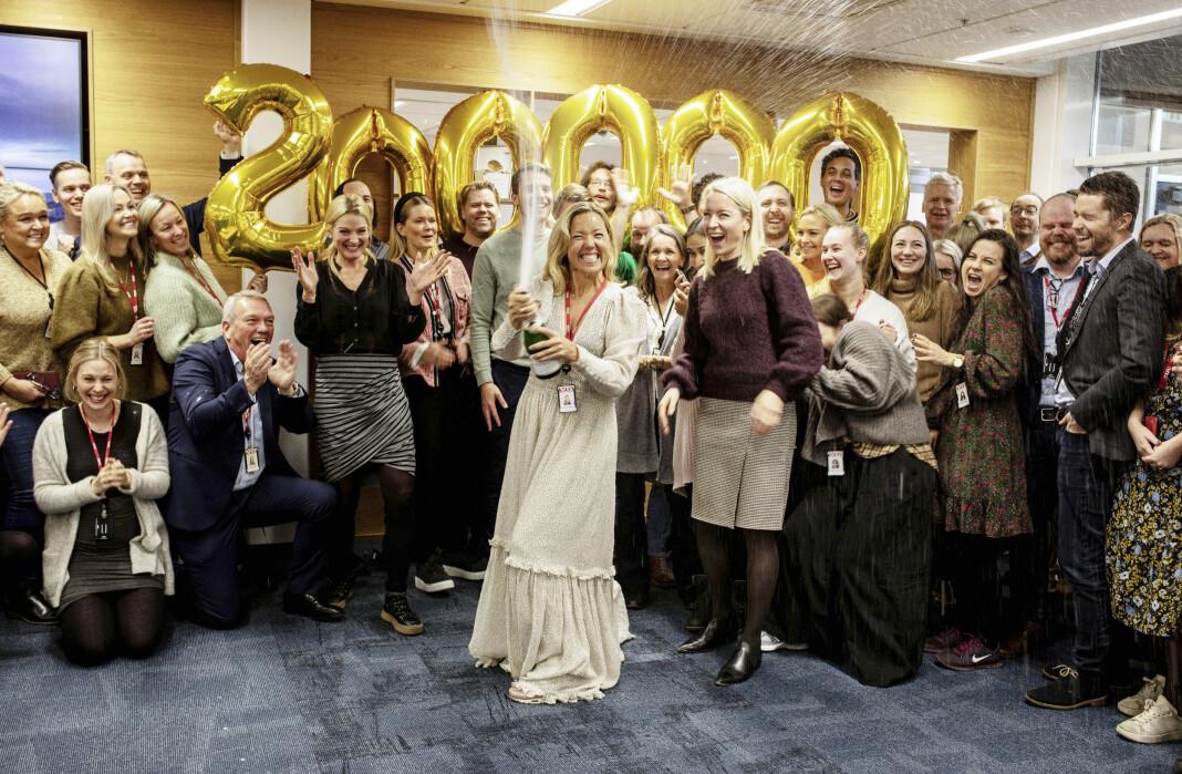 Full jubel og sprudlende bobler da VG+ siste onsdag før jul passerte målet om 200.000 abonnenter innen utgangen av 2020.