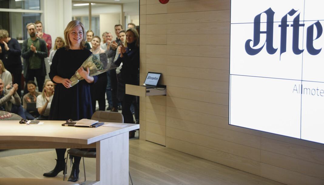 Påtroppende sjefredaktør Trine Eilertsen på allmøtet i Aftenposten i dag.