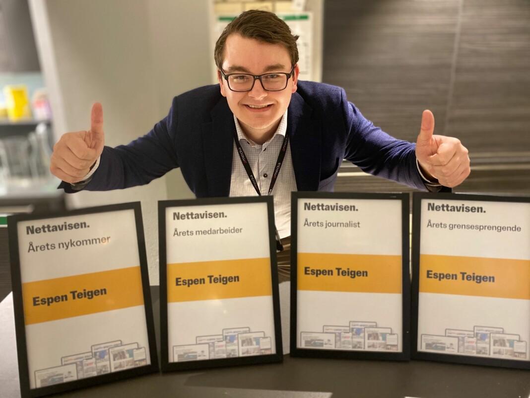 Nettavisens Espen Teigen synes ikke det er så vanskelig å tenke utenfor boksen når han er «eneste i riksmedia med Frp-bakgrunn». Her fra da han vant fire interne Nettavisen-priser i 2019.